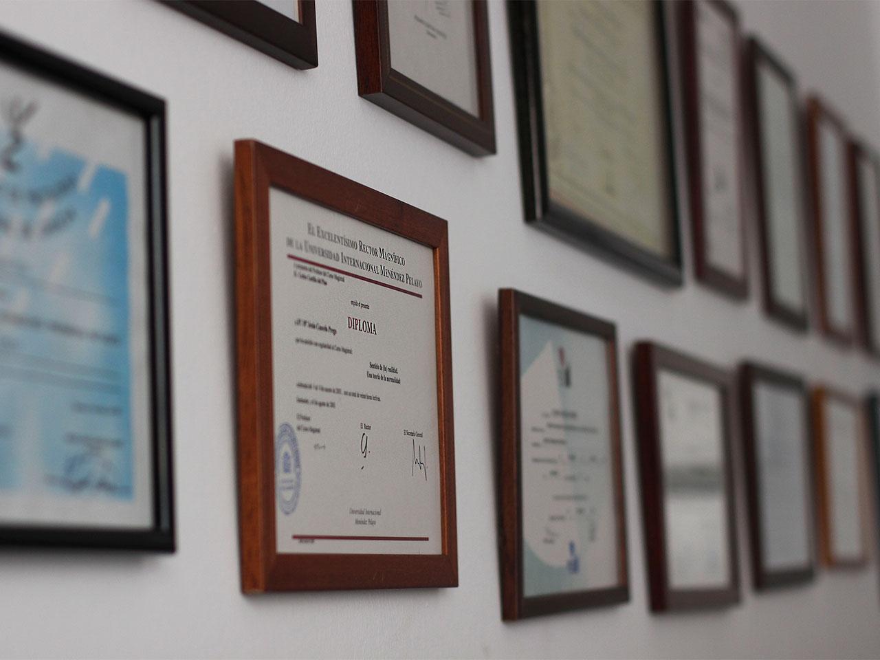 Pared con diplomas